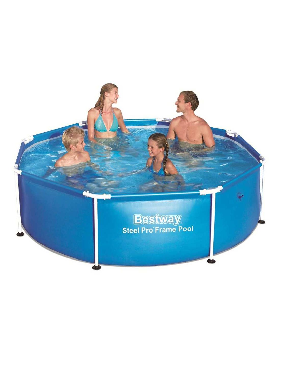 Scaffold Round Swimming Pool Outdoor Summer 244 х61 Cm, 1724 L, Bestway, Blue, For Garden, Summer, Leisure, Item No. 56431/56045