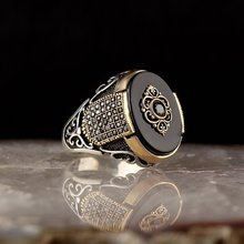 925-Sterling-Silver Ring Onyx-Stone Black Jewelry Aqeq Natural Fashion Men for Vintage