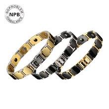 Noprobleme ion antifatigue puissance tour de cou licorne bio métal 99.99% pur germanium poudre perle hommes bracelets