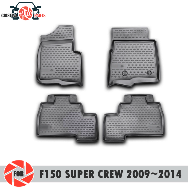 Floor mats for Ford F-150 Super Crew 2009~2014 rugs non slip polyurethane dirt protection interior car styling accessories цена в Москве и Питере