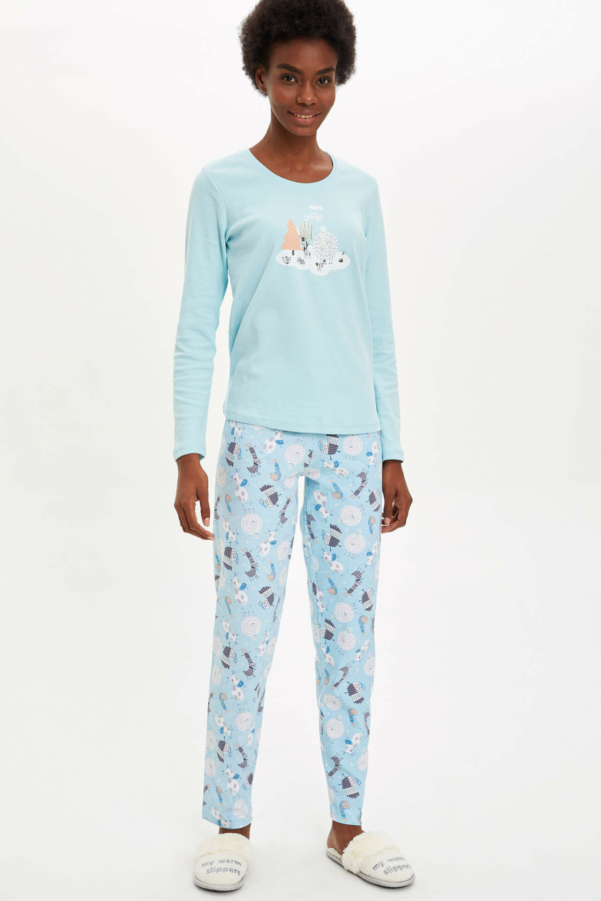 DeFacto Woman Pink Blue Winter Pajamas Set Women Casual Homewear Knitted Sets Women Top & Bottoms-M8657AZ19WN