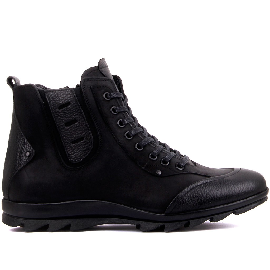 Fosco-Black Leather Zipper Male Men Boots Winter