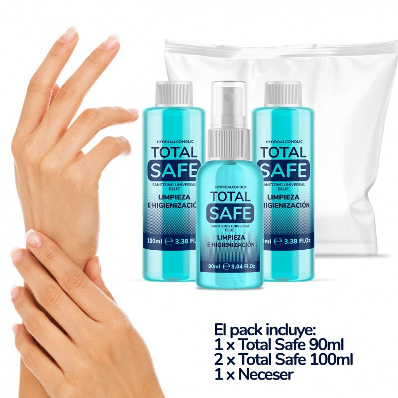 PACK TOTAL SAFE HIDROALCOHOLICO (290ML) + Bag | 70% Alcohol Ideal For A Deep Hygiene Hand | Hidroalcohol