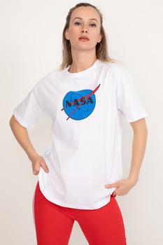 Koszulka z nadrukiem Nasa darmowa wysyłka tanie i dobre opinie NONE TR (pochodzenie) tops Z KRÓTKIM RĘKAWEM WOMEN