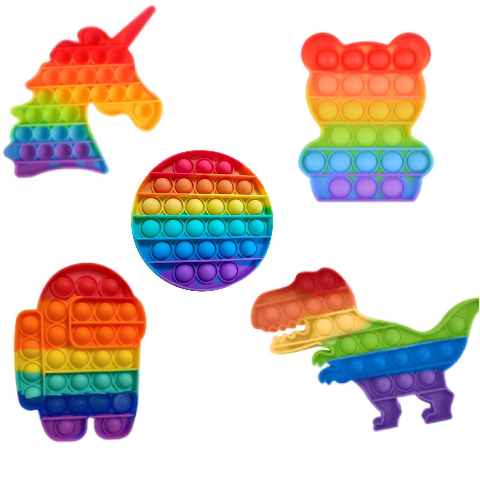 Novo pote antiestresse para crianças, conjunto de brinquedos quadrados com bolha de arco-íris para massagem, alívio de stress de chão, brinquedos para adultos