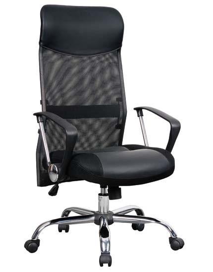 Office Armchair CATANIA (U), High, Gas, Tilt, Black Mesh And Similpiel Black
