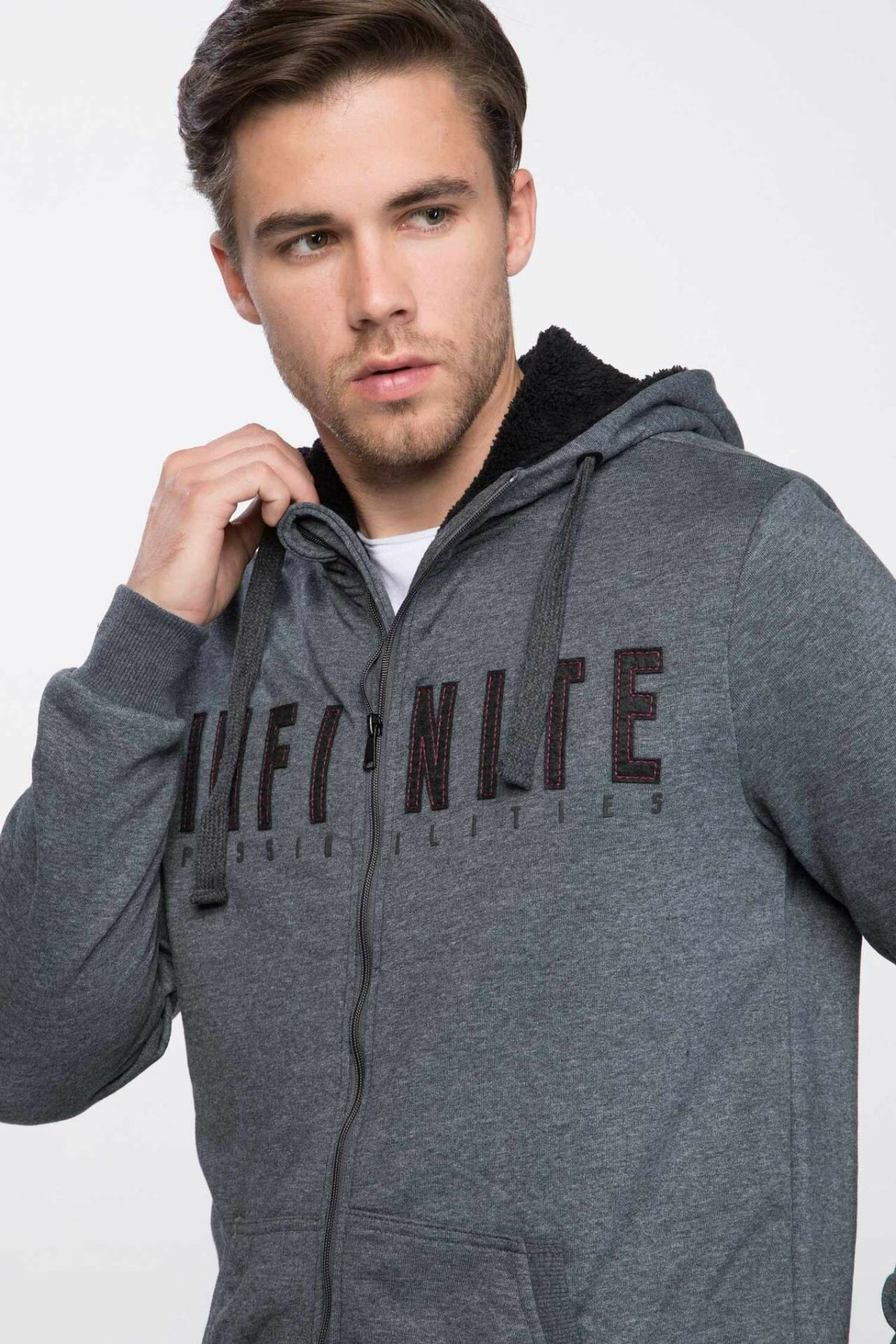 DeFacto New Fashion Man Zipper Cardigan Male Letter Pattern Hooded Coats Autumn Wool Warm Coats Autumn  -J0723AZ18AU
