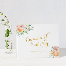 Foil gold floral Wedding Guest Book custom rustic blush flowers Guestbook hen night sign in book idea book birthday menory book