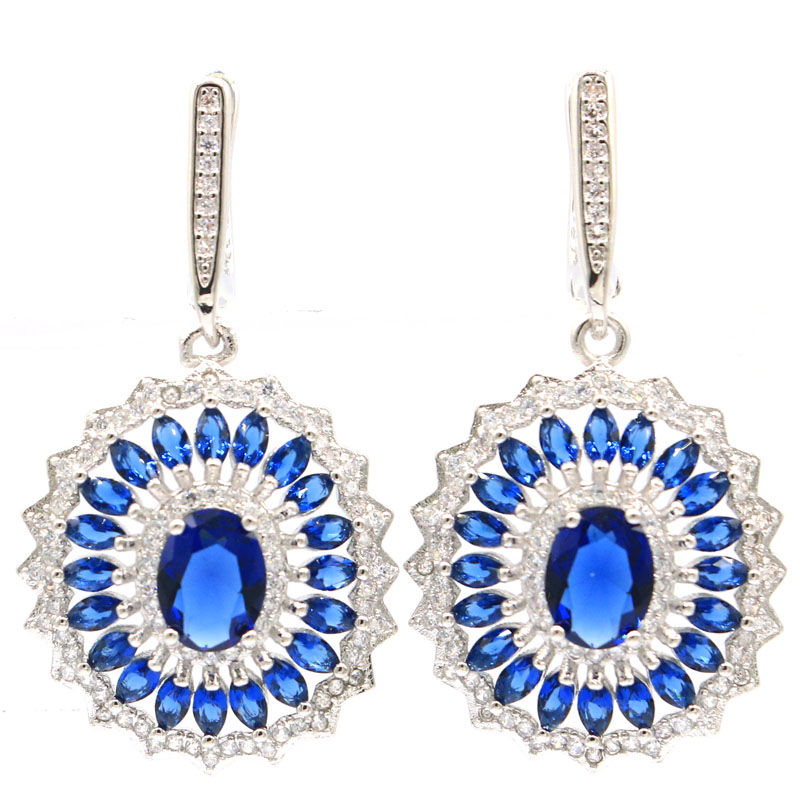 41x21mm Pretty Feather Shape Created Tanzanite White CZ Gift For Woman's Silver Earrings