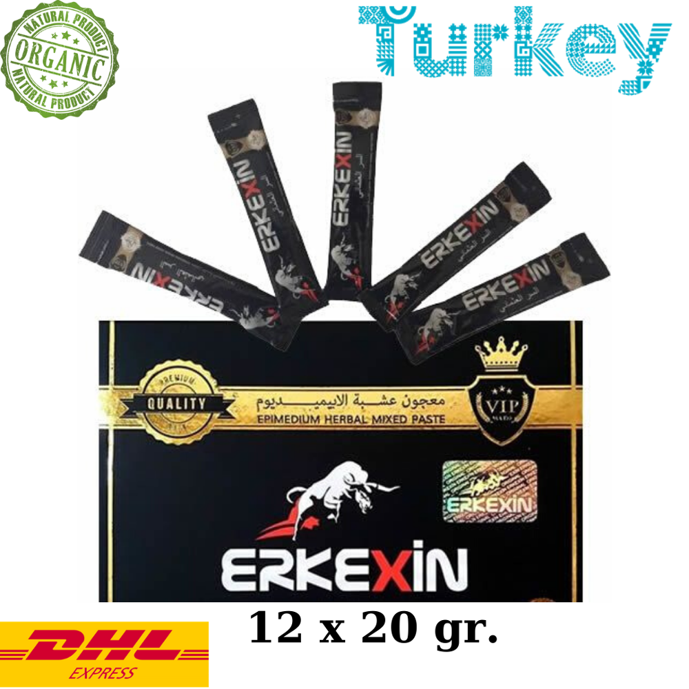 Erkexin Epimedium Turkish Honey Mix Macun Horny Goat Weed Ginseng Herbal Aphrodisiac– Turkish Paste, 12x 20  Gr.