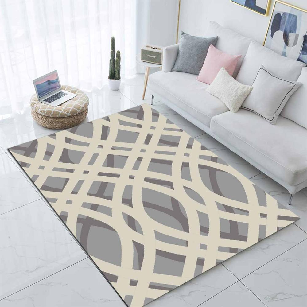 Else Gray White Lines Waves Nordec Scandinav 3d Print Non Slip Microfiber Living Room Decorative Modern Washable Area Rug Mat