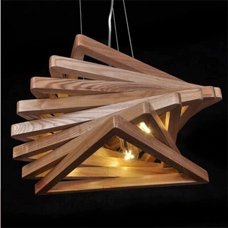 Post-Modern Contracted Wooden Dining Room Pendant Lights Spiral Wood Designer Lights Cafe Light Bar Lamp Free Shipping