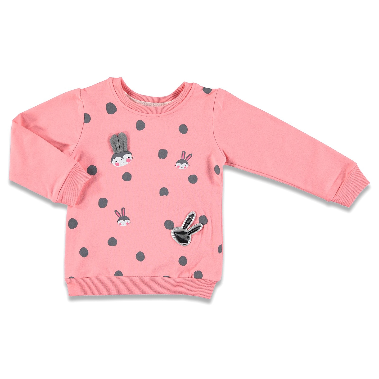 Ebebek Tuffy Shiny Eared Rabbit Printed Baby Girl Sweatshirt