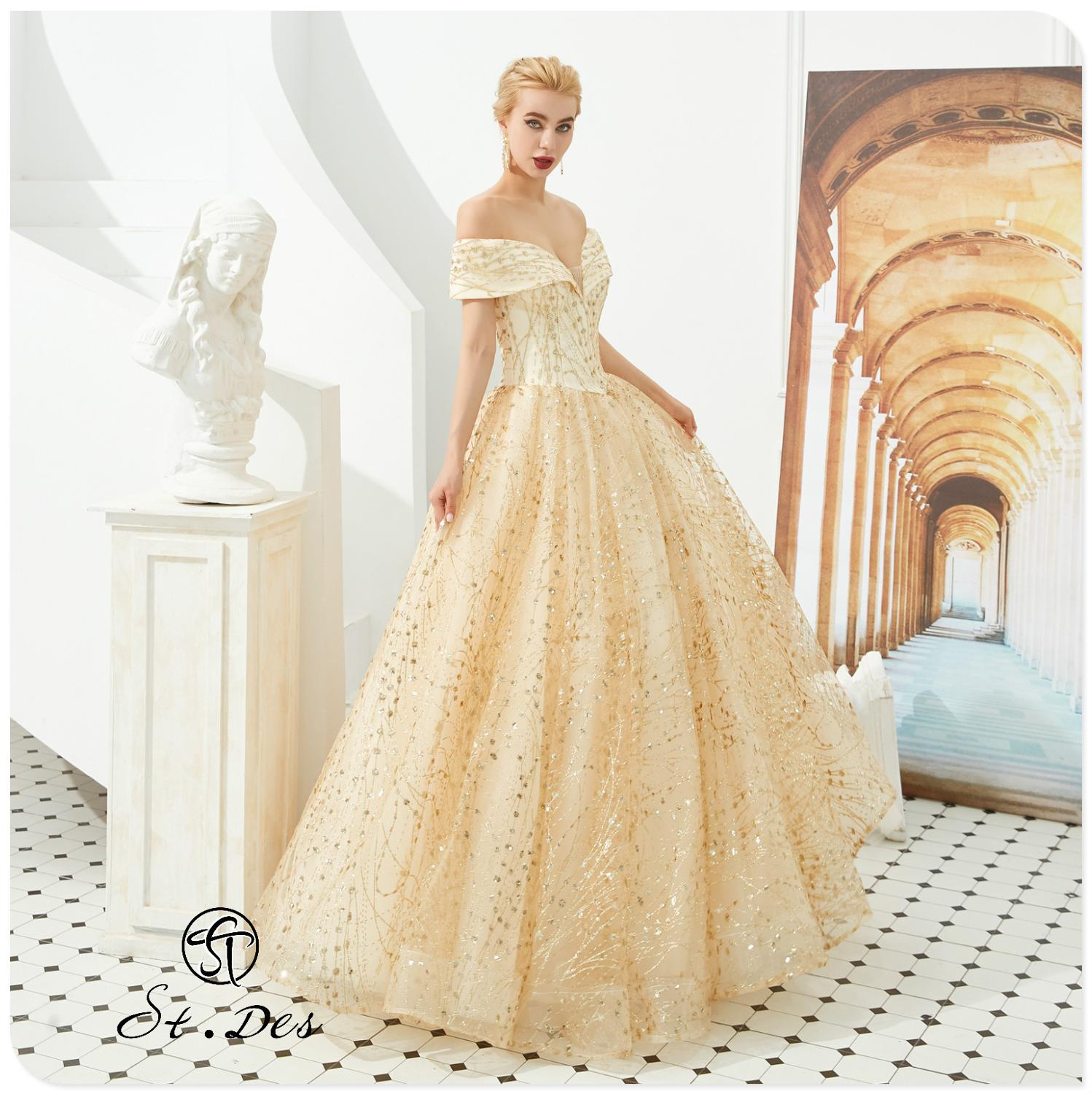 NEW Arrival 2020 St.Des A-line Off The Shoulder Russian Champagne Beading Designer Floor Length Evening Dress Party Dress Gowns