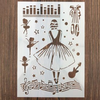 1PC Musical ballet girl Shaped Reusable Stencil Airbrush Painting Art DIY Home Decor Scrap booking Album Crafts image