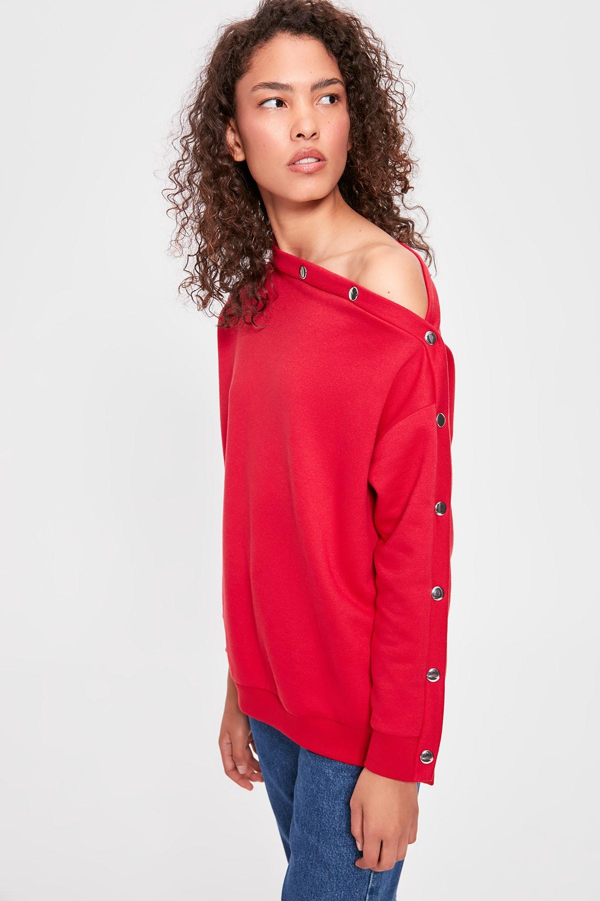 Trendyol Fuchsia Boat Neckline Knitted Sweatshirt TWOAW20SW0151