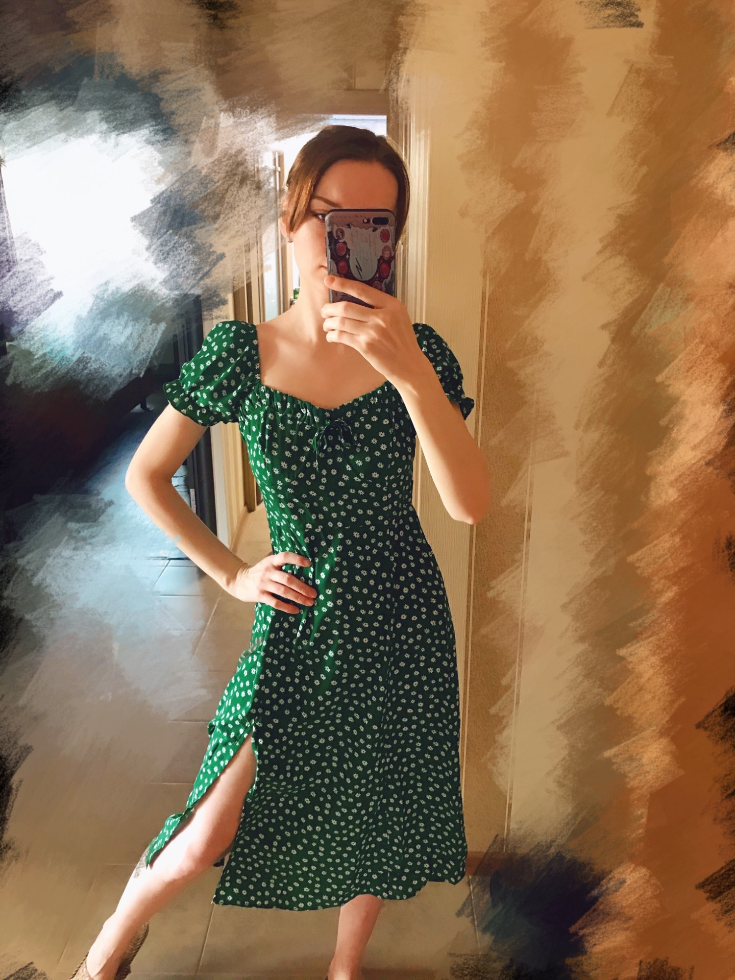 Conmoto Summer Vintage Party Dress Square Collar Ruffle Elegant Sexy Dress Beach Female Green Floral Print Mid Dresses Vestidos|Dresses|   - AliExpress