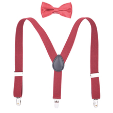 Kids Fashion Suspenders Bow Tie Set for Toddler Boys Girls Adjustable Elastic Tuxedo Trouser Braces Y Back 3 Clips-Blue Red