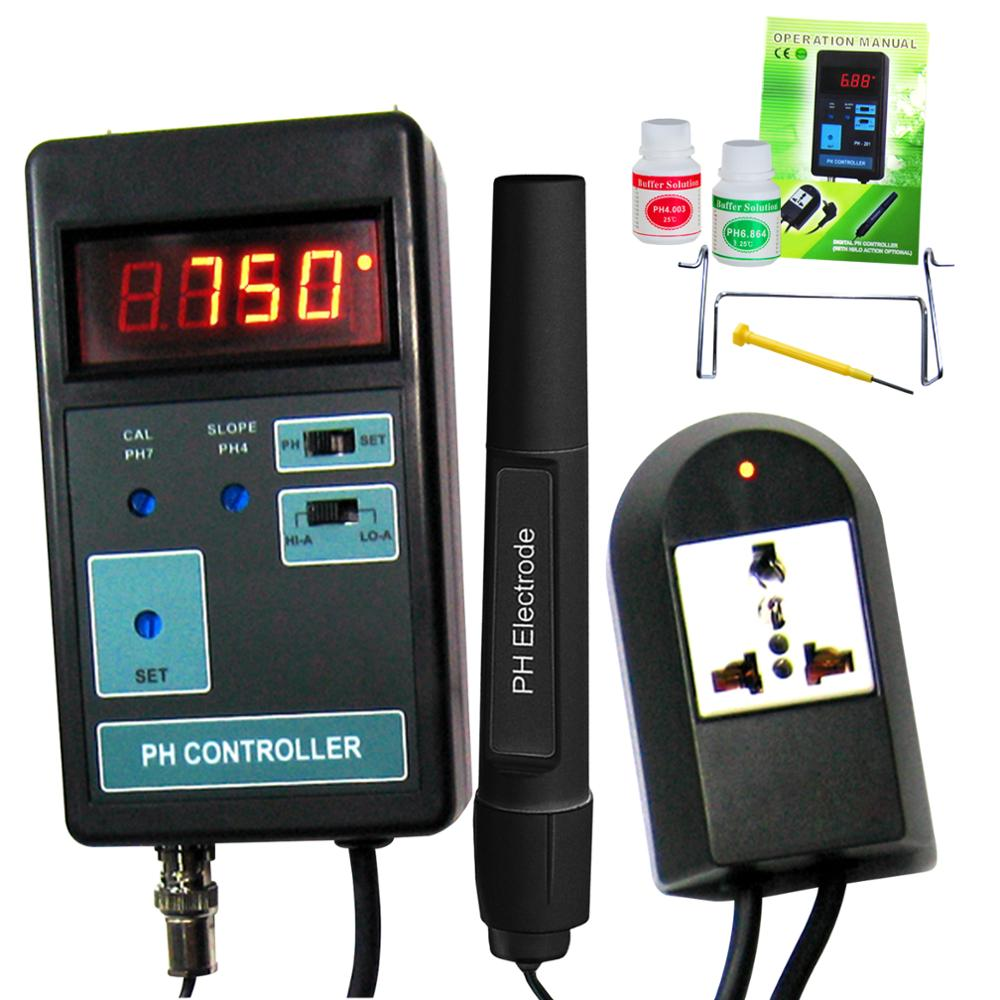 Digital LED Display PH CO2 Controller Meter  Aquarium 14.00PH Range + Switched Socket 110V/220V + Calibration Solutions
