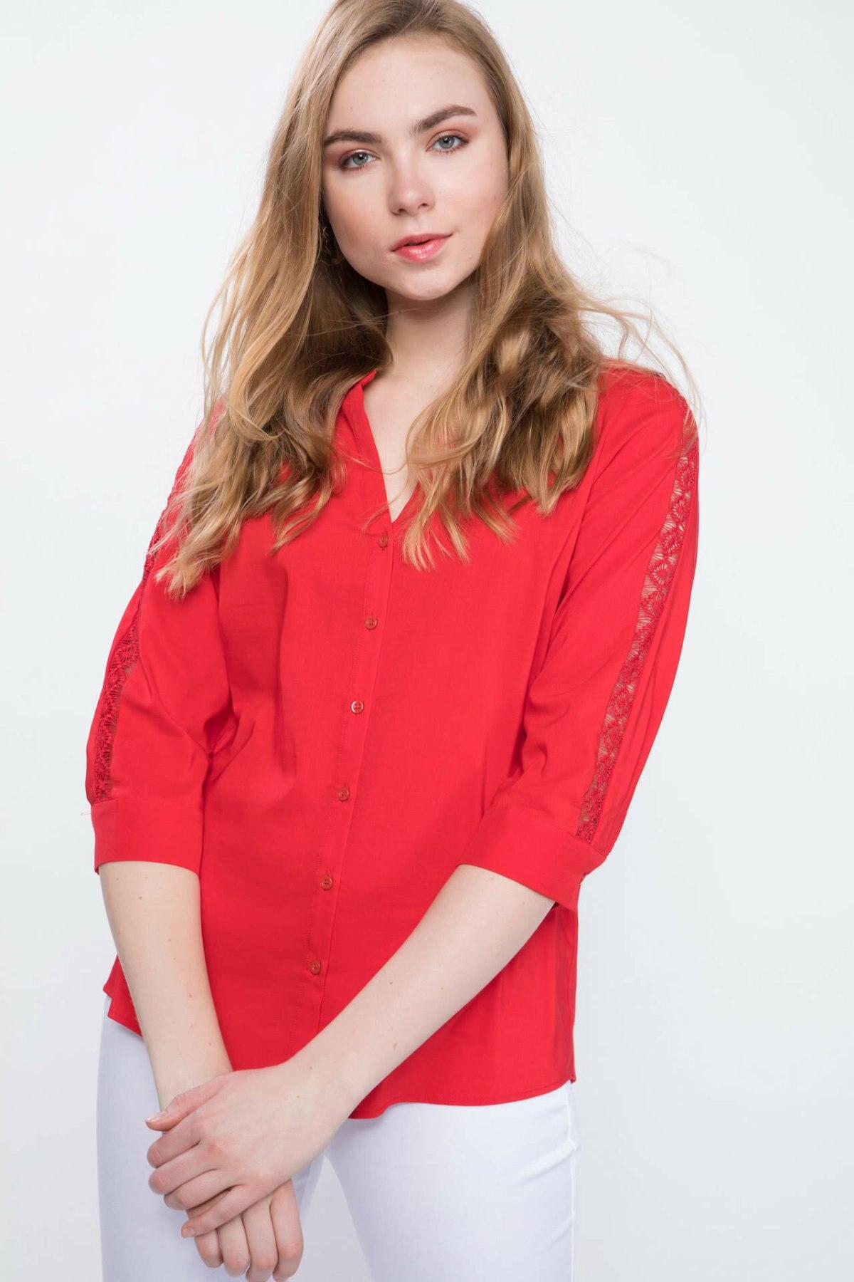 DeFacto Woman Spring Charming Red Shirts Women Casual V-neck Top Shirts Female Long Sleeve Shirt-J9489AZ19SP