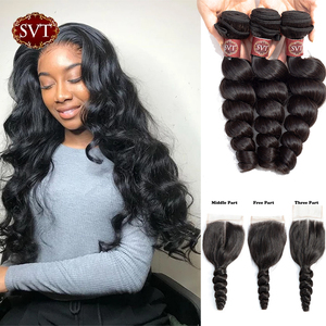 SVT Brazilian Hair Weave Bundles With Lace Closure Loose Wave Bundles With Closure Non-Remy Human Hair 3 Bundles With Closure