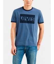 T-SHIRT LEVIS RINGER TEE T short sleeve color blue BRANDED for men Clothing male