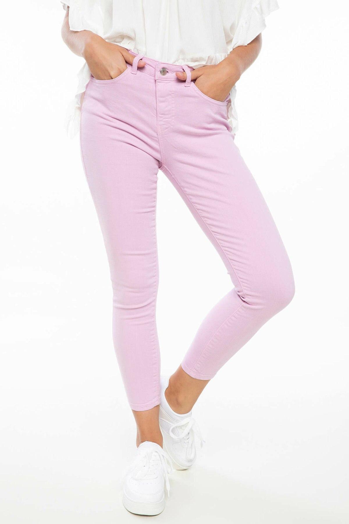 DeFacto Woman Spring Long Pants Elegant Women Zipper Pencil Pants Female Skinny Bottoms Trousers Comfort Pink - J9775AZ18HS