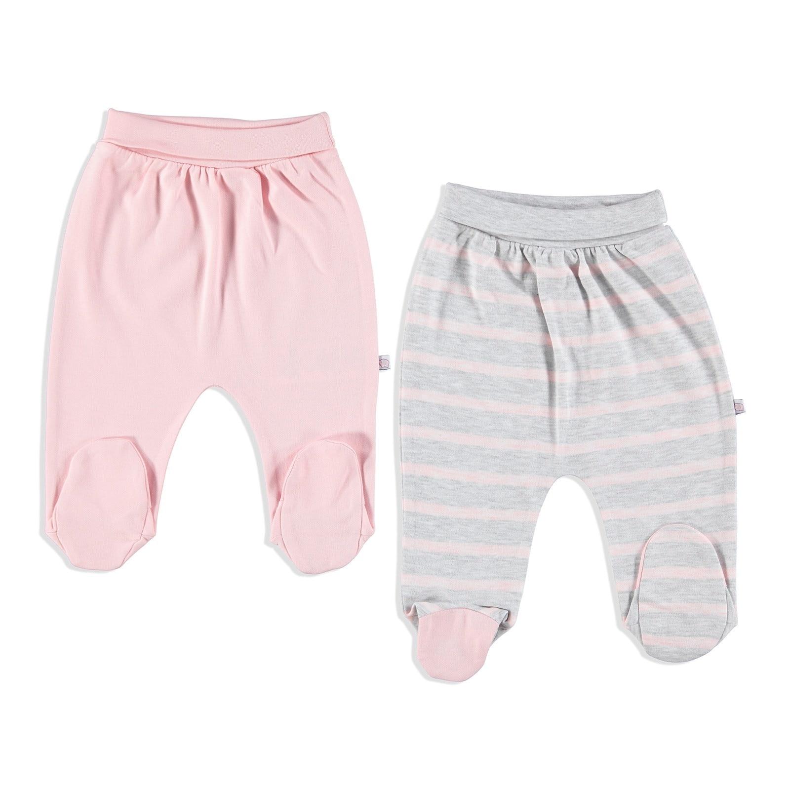 Ebebek Carmin Baby Little Elephant Interlock Footed Pants 2 Pcs