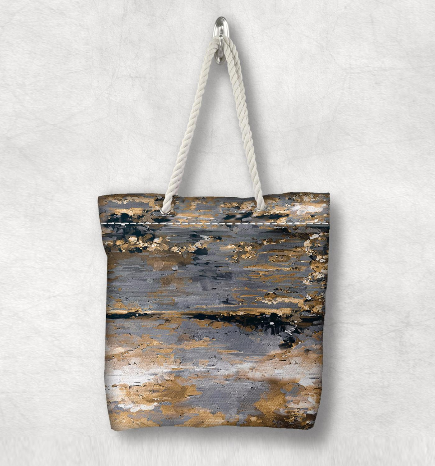 Else Yellow Gray Brown Abstract Painting New Fashion White Rope Handle Canvas Bag Cotton Canvas Zippered Tote Bag Shoulder Bag