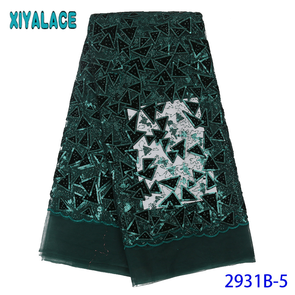 French Net Lace Fabric,African Tulle Lace Fabric With Sequins,Nigerian Lace Fabrics For Wedding 2019 Green KS2931B-5