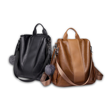 Big Backpack Shoulder Bag Women PU Leather High Quality Soft Handle Multi-Function capacity Female zipper fashion