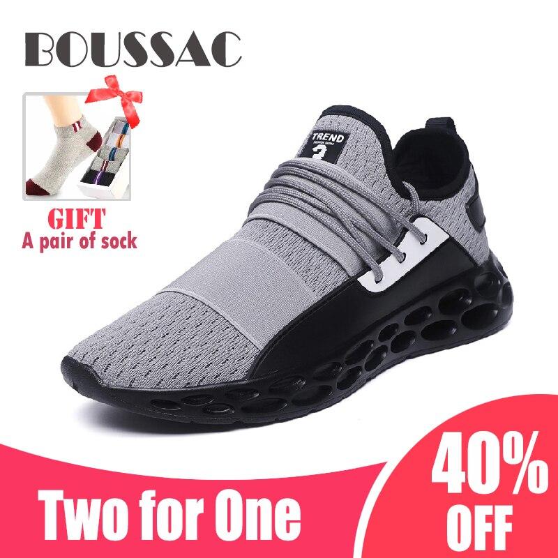 BOUSSAC 39-46 Malha Running Shoes Para Os Homens Do Ar Respirável Leve Sports Shoes Preto Vermelho Tênis de Ginástica Masculina Betis zapatillas