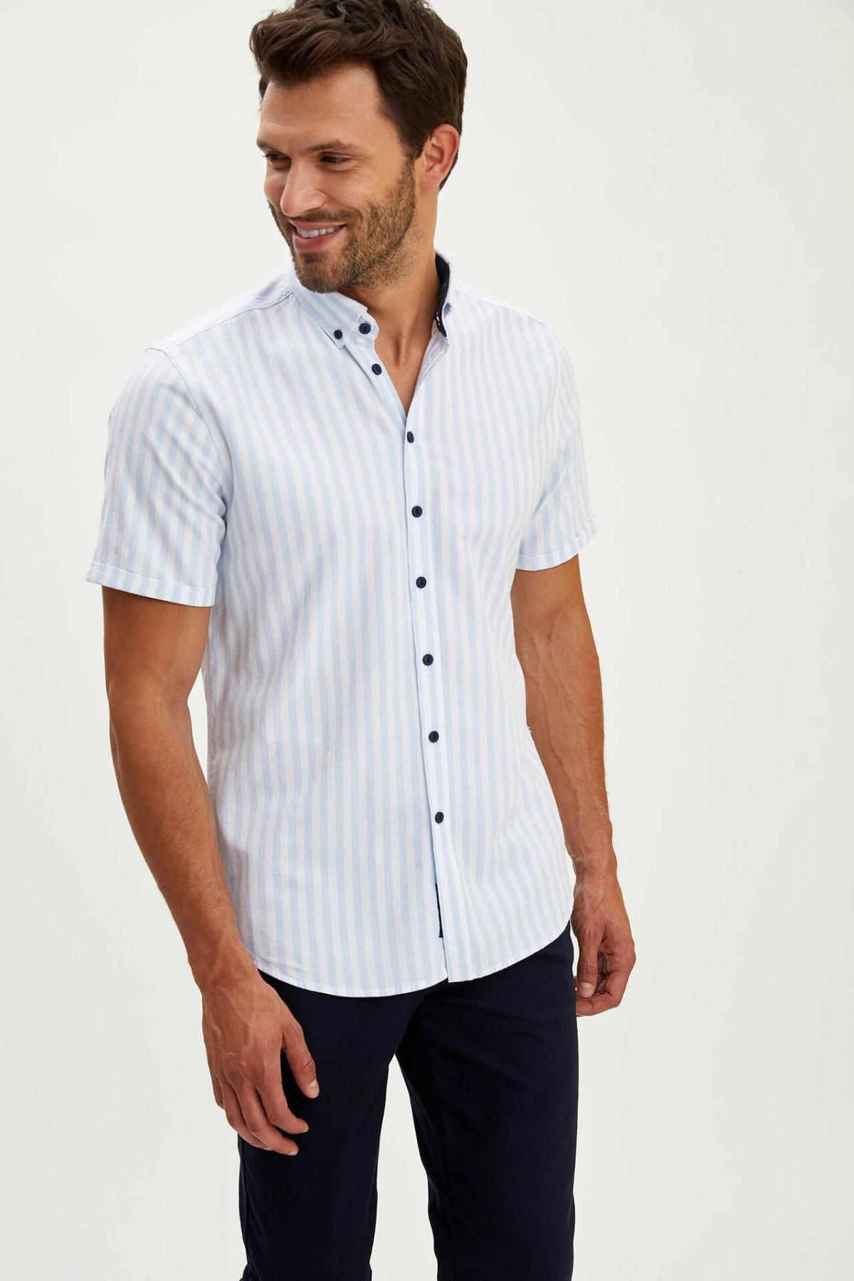 DeFacto Summer Men's Fashion Short Sleeve Shirt Male Casual Striped Comfort Shirts Men High Quality Tops New - L1895AZ19SM