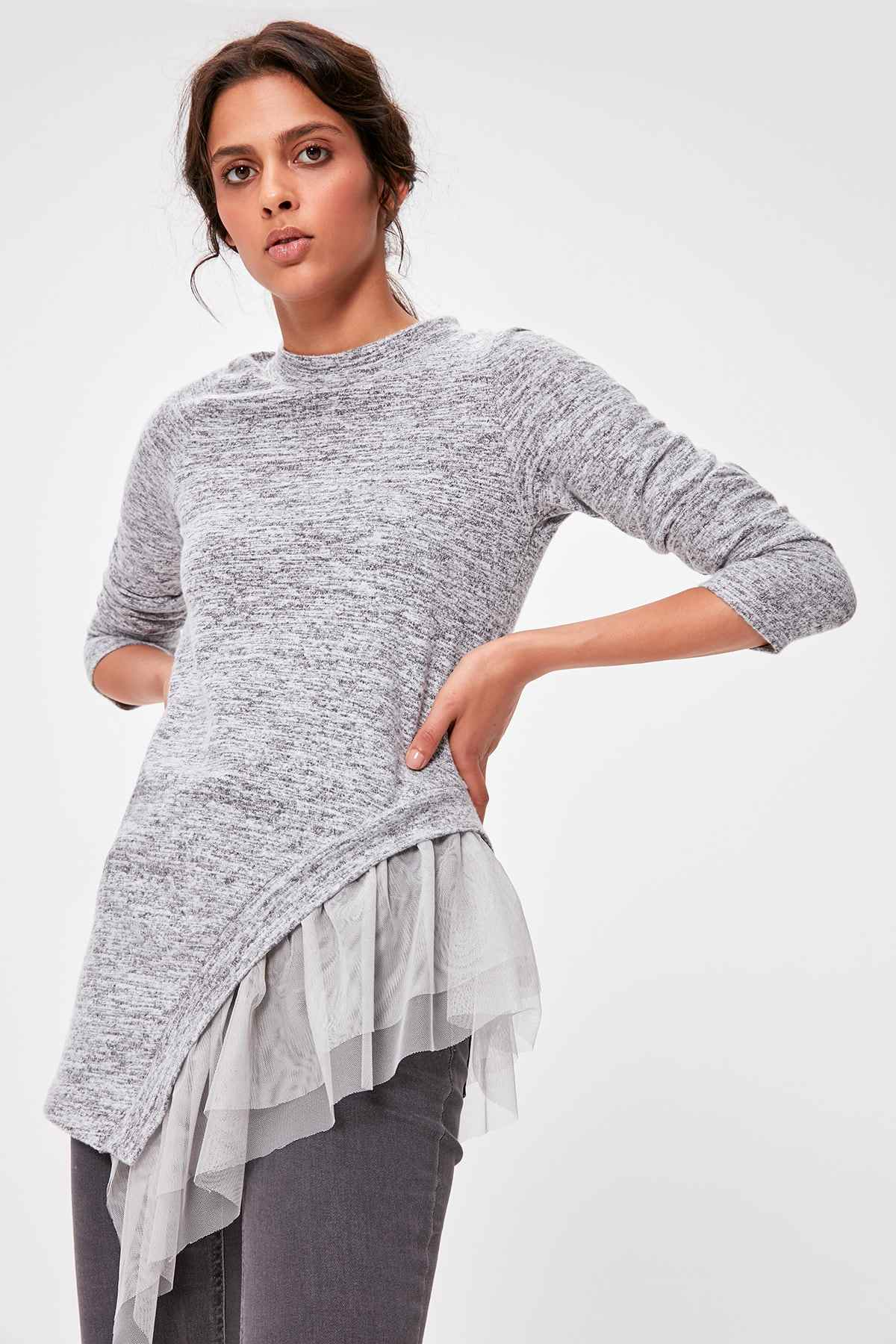 Trendyol Gray Tulle Detailed Knitted Blouse TWOAW20BZ0479