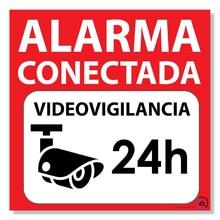 Self-adhesive warning poster alarm 15x15 alarm 24H connected surveillance rotulo amarillo in castellano