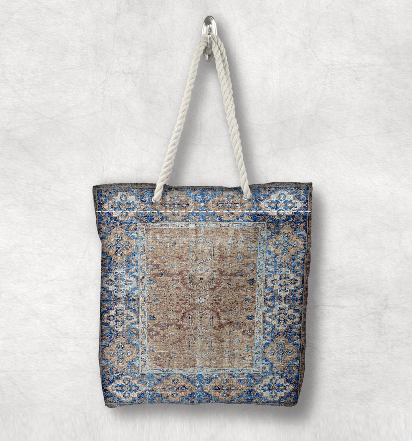 Else Blue Brown Retro Anatolia Antique Kilim Design White Rope Handle Canvas Bag Cotton Canvas Zippered Tote Bag Shoulder Bag