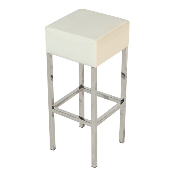 Stool THEO, Plating, Similpiel White