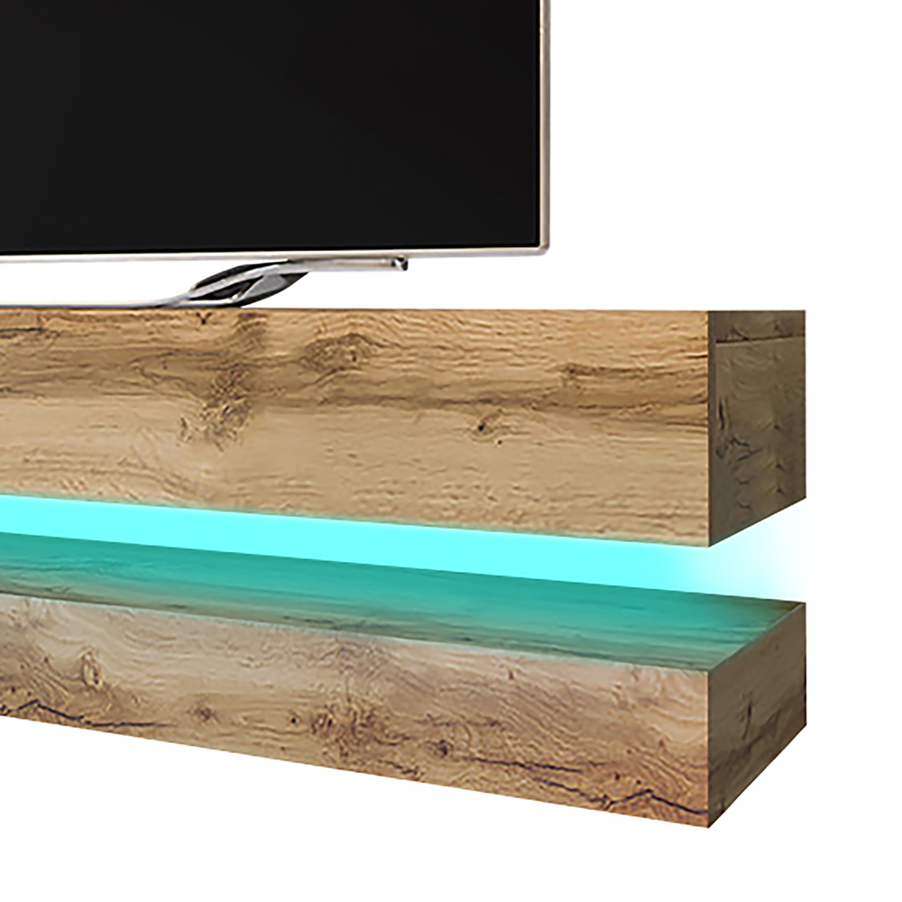 HYLIA Meuble TV suspendu (140 cm, chêne wotan avec LED) 4