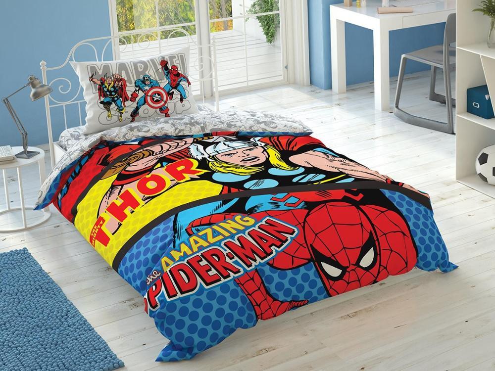 100% Cotton Licensed Single Marvel Comics Duvet Cover Set Bedding Duvet Cover Set  For Kids Children Toddler, Boy Or Girl