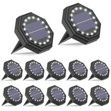 16LED Solar Ground Lamp, Solar Path Deck Lights, Cross Spike Stake for Easy in Ground Install, Solar Powered Landscape Lighting
