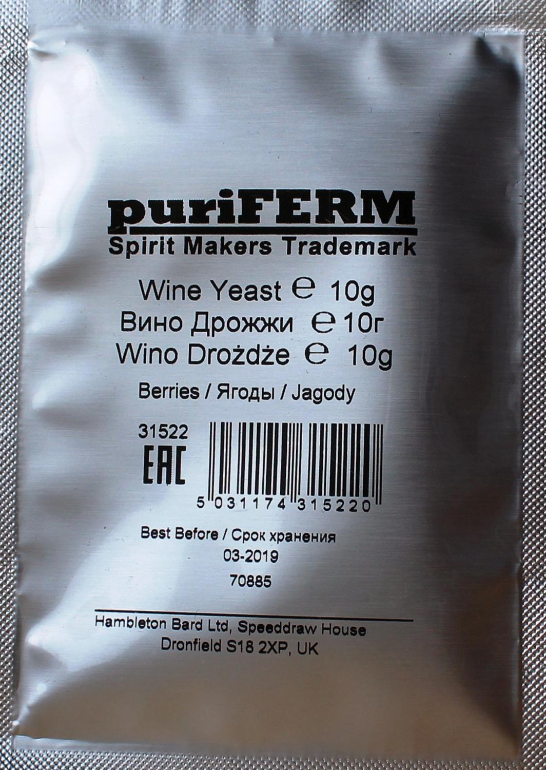 Yeast Wine PuriFerm Wine Yeast 10 Gram Berry Wine Of Berry Brew Of Berries