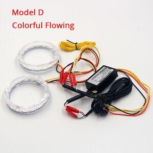 Image 5 - ROYALIN LED Angel Eyes White Yellow Amber Daytime Running Light 80mm 95mm Halo Rings DRL Switch Back Turn Signal Light Car Lamps