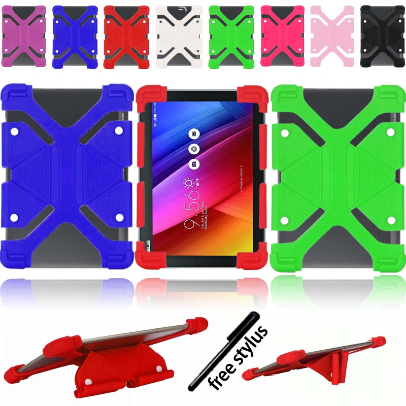 KK&LL For Asus ZenPad 10 Inch -  New Soft Rubber Smart Tablet Shockproof Silicone Stand Cover Case+Stylus