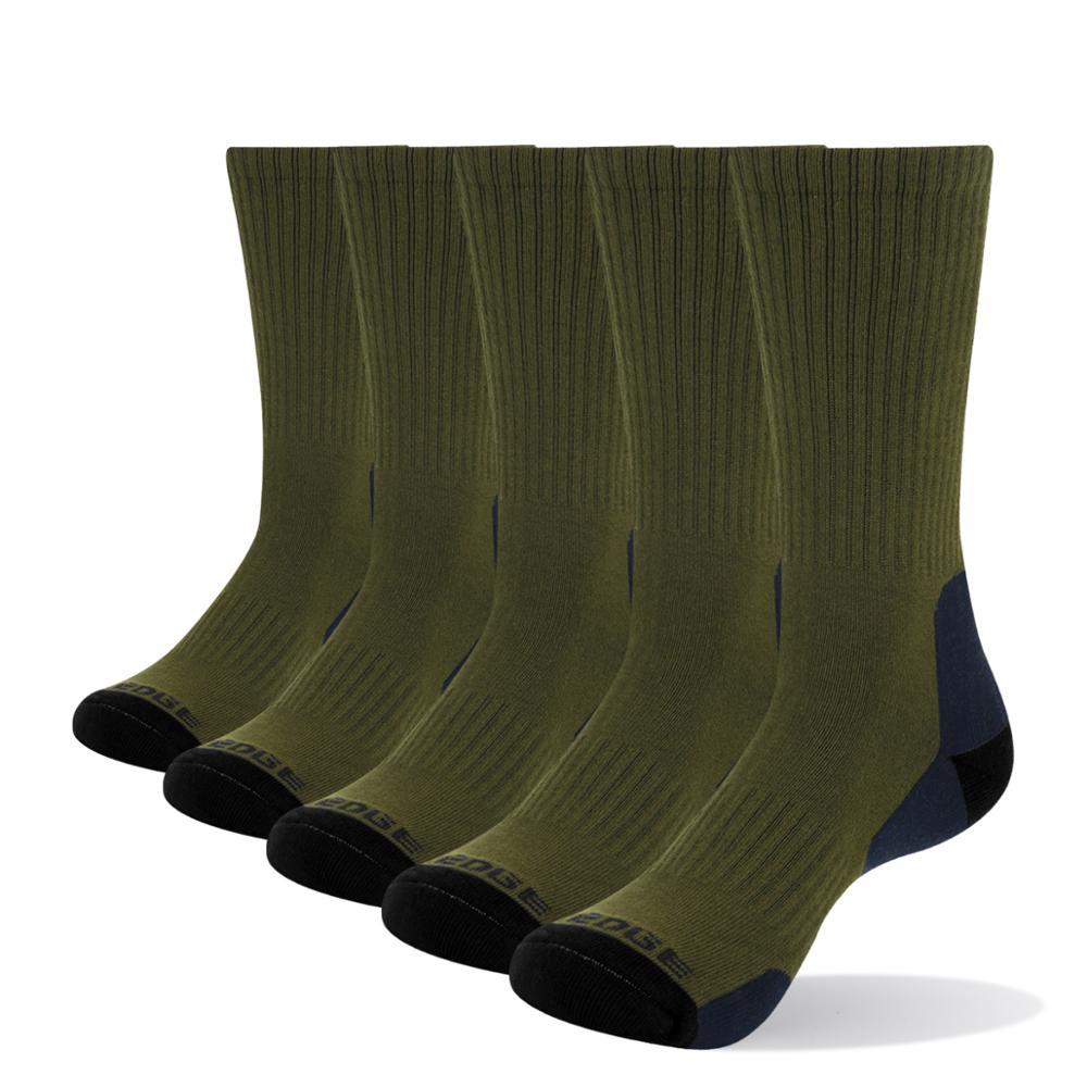 YUEDGE Men's Wicking Cushion Padded Combed Cotton Crew Socks Sports Trekking Hiking Socks( 5 Pairs/Pack)