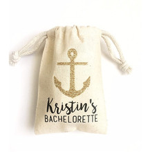 custom bachelorette Muslin Anchor Bag beach party Hangovers survival kit bags Nautical packing groomsman favours Gift