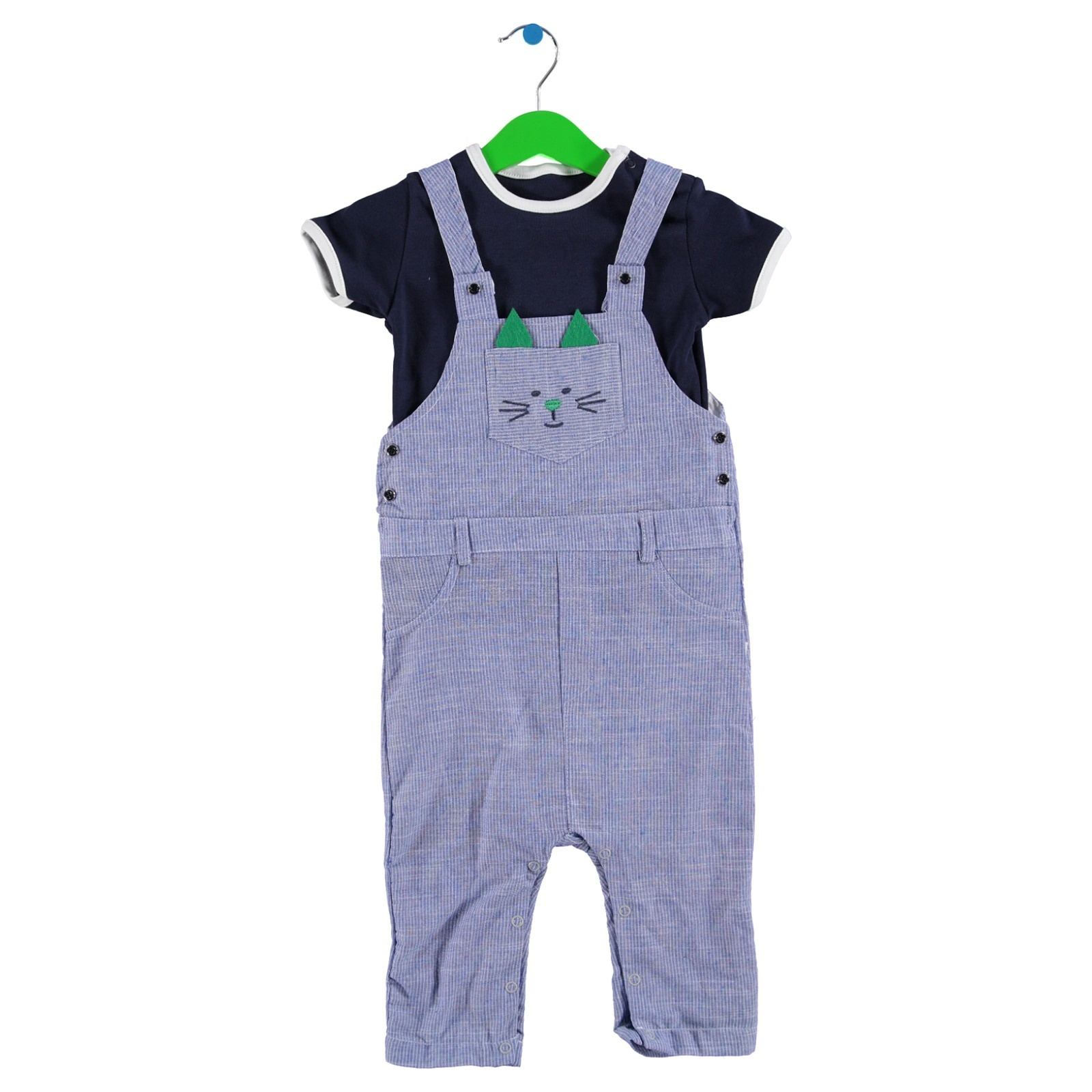 Ebebek BabyZ Baby Kitty Embroidered Short Dungarees Turtleneck Tshirt Set