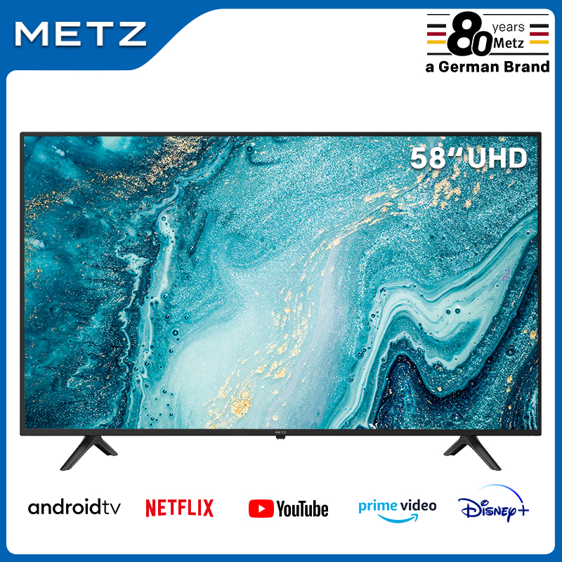 Television 58INCH SMART TV METZ 58MUB6010 ANDROID TV 9.0 UHD Google Assistant Large Screen Voice Remote Control 2-Year Warranty