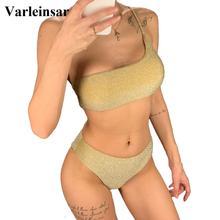 Shiny Sparkling High Waist Bikini Female Swimsuit 2020 Women Swimwear Two-pieces Bikini set One Shoulder Bathing Suit V1264