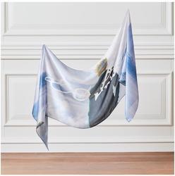 Bufanda de cuello de seda sobre el mar de la niebla Wacher-Hecho en Turquía-% 100 accesorio de Arte de seda de la belleza del trabajo de freedrich