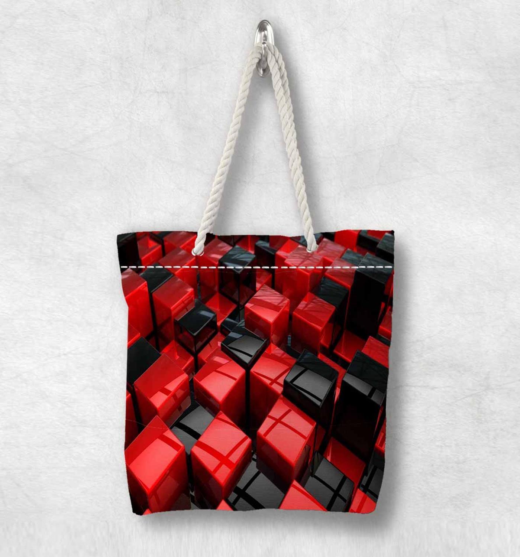 Başka bir siyah kırmızı soyut geometrik kutuları yeni moda beyaz halat kolu kanvas çanta pamuk kanvas fermuarlı Tote çanta omuzdan askili çanta